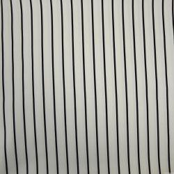 Satin de coton élasthane imprimé rayé blanc et noir