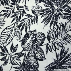 Satin de coton élasthane imprimé jungle noir et blanc