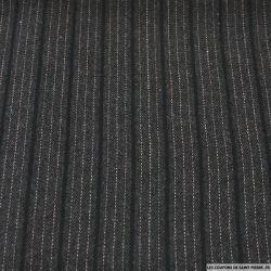 Tissu Tailleur polyester rayures double gris anthracite et noir