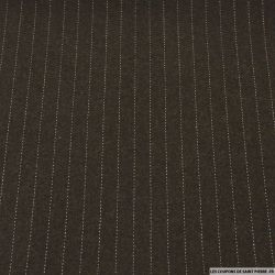 Tissu Tailleur rayures costume fond brun