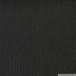 Tissu Tailleur polyester rayé gris anthracite et blanc