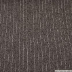 Tissu Tailleur rayures fine double écru fond gris taupe