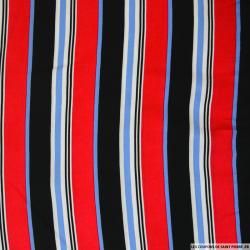 Viscose imprimée rayures rouges, bleues et noires