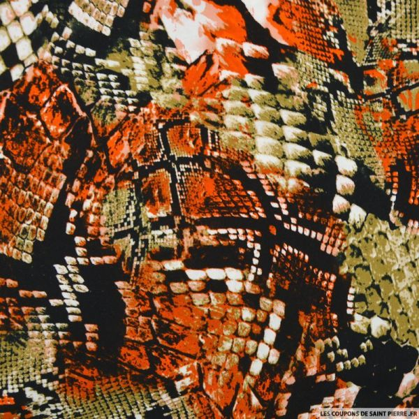 Viscose imprimée serpent orange