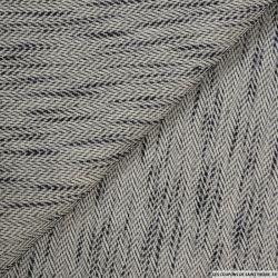 Tissu chevron coton et soie noir et ivoire