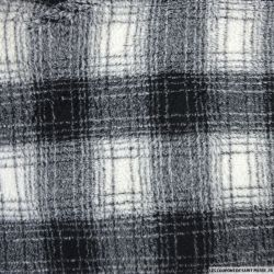 Polyester carreaux  noir et gris à pois longs