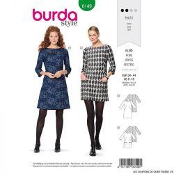 Patron Burda n°6149: Robe semi-ajustée encolure bateau femme