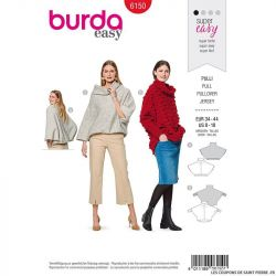 Patron Burda n°6150: Pull très ample col montant femme