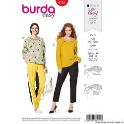 Patron Burda n°6151: Pull emmanchure raglan femme