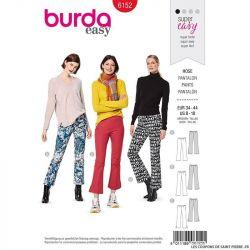 Patron Burda n°6152: Patalon semi-évasé femme