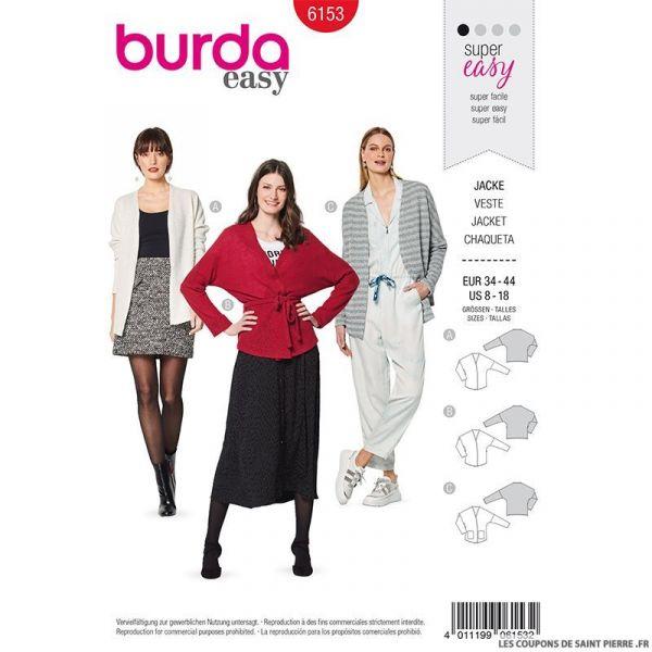 Patron Burda n°6153: Gilet manches dolman femme