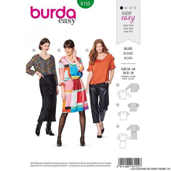 Patron Burda n°6155: Blouse ample décolleté en V femme