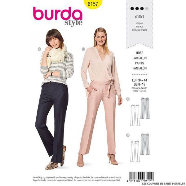 Patron Burda n°6157: Pantalon droit à plie ajusté femme