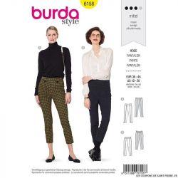 Patron Burda n°6158: Pantalon cigarette à pinces femme