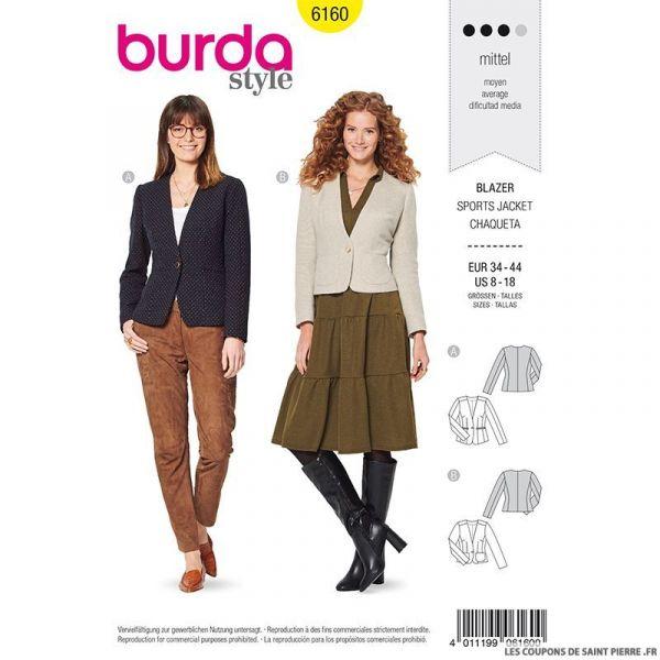 Patron Burda n°6160: Blazer un bouton femme