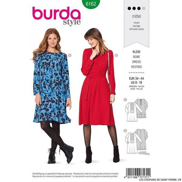 Patron Burda n°6162: Robe décolleté plissé femme