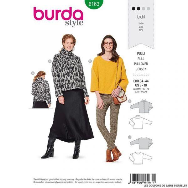 Patron Burda n°6163: Pull ample encolure large femme