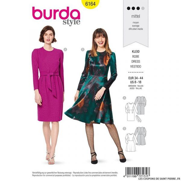 Patron Burda n°6164: Robe cintrée manche montée femme