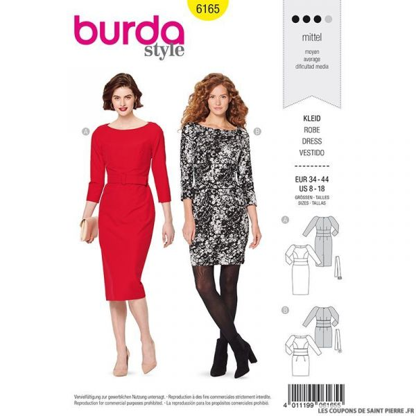 Patron Burda n°6165: Robe fourreau manches 3/4 femme