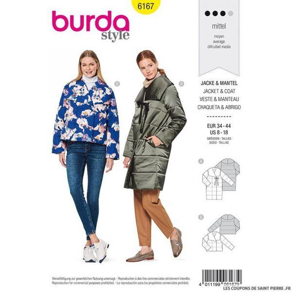 Patron Burda n°6167: Veste et manteau matelassé femme