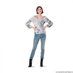 Patron Burda n°6170: T-Shirt cache-cœur manches longues femme