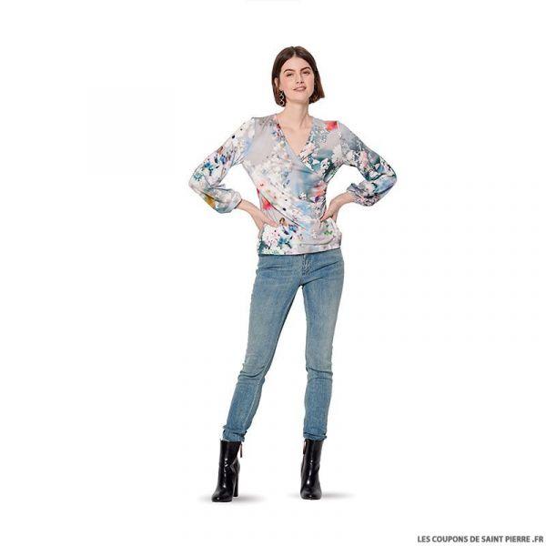 Patron Burda n°6170: T-Shirt cache-coeur manche longue femme