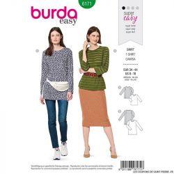 Patron Burda n°6171: T-Shirt semi-ajusté col rond femme