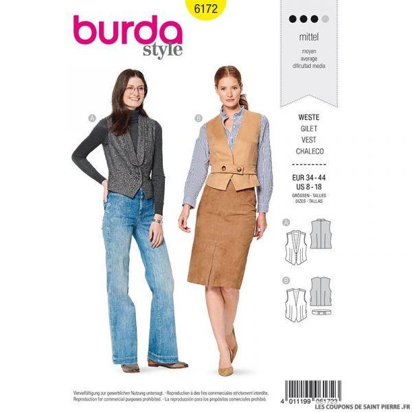Patron Burda n°6172: Gilet de costume ajusté femme