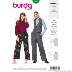 Patron Burda n°6173: Pantalon jambe large à poche femme