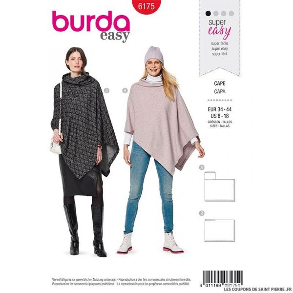 Patron Burda n°6175: Cape en maille femme