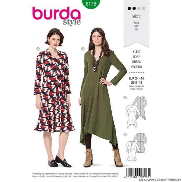 Patron Burda n°6176: Robe mi-longue manche longue femme