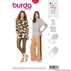 Patron Burda n°6177: T-shirt col bateau manches 7/8ème femme