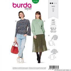 Patron Burda n°6178: T-shirt ajusté manche bishop femme