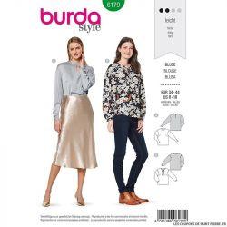 Patron Burda n°6179: Blouse semi-ajustée manches gigot femme