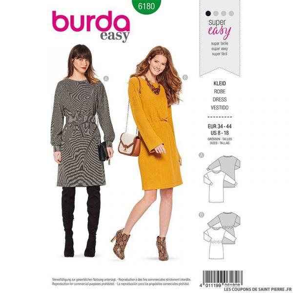 Patron Burda n°6180: Robe ceinturé en maille femme