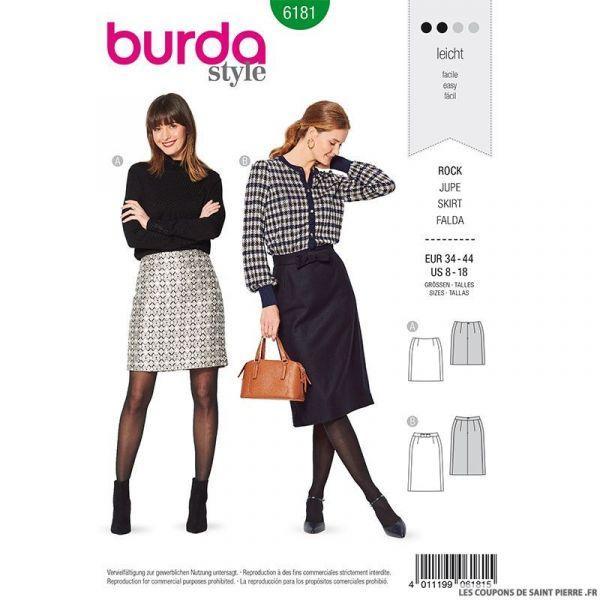 Patron Burda n°6181: Jupe droite ceinture avec nœud femme