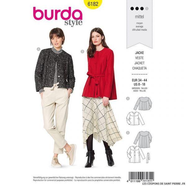 Patron Burda n°6182: Veste dos plissé femme