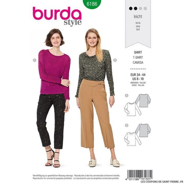 Patron Burda n°6186: T-shirt manche bracelet femme