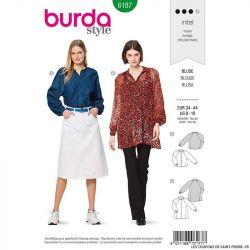 Patron Burda n°6187: Blouse ample manche raglan et bouffante femme