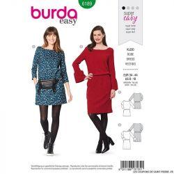 Patron Burda n°6189: Robe semi-ajustée cintrée à la taille femme