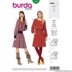 Patron Burda n°6190: Robe 70's ceinture froncé femme
