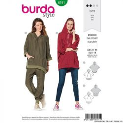 Patron Burda n°6191: Sweat-shirt à capuche manches 3/4 femme