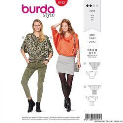 Patron Burda n°6192: T-shirt manches chauve sourie col bateau femme