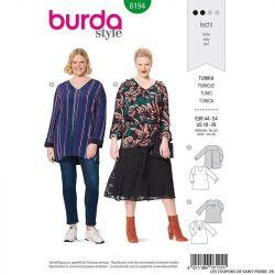 Patron Burda n°6194: Tunique semi-ajustée décolleté en V décoré femme