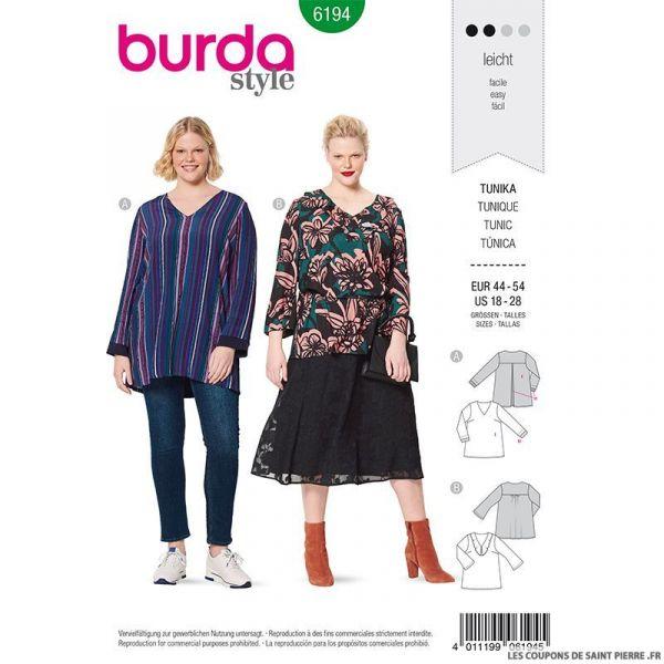 Patron Burda n°6194: Tunique semi ajusté décolleté en V décoré femme