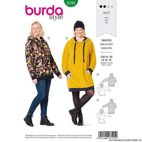 Patron Burda n°6195: Robe sweat-shirt à capuche femme