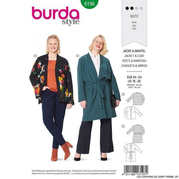 Patron Burda n°6196: Manteaux et veste semi-ajusté ceinturé femme