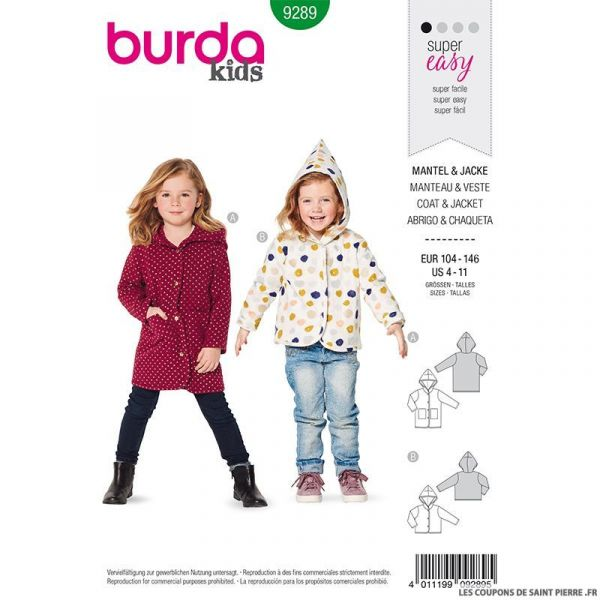 Patron Burda n°9289: Veste et manteau à capuche enfant