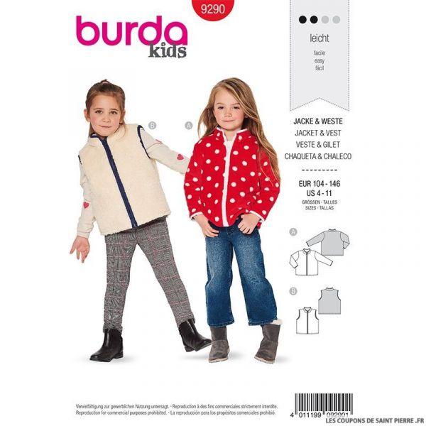 Patron Burda n°9290: Veste et manteau zippé enfant