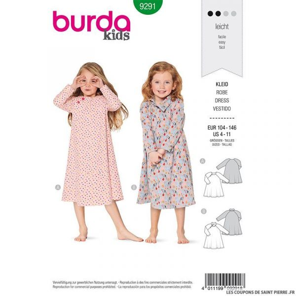 Patron Burda n°9291: Robe emmanchure américaine enfant